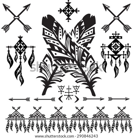 Tribal Feathers and decorative elements - stock vector