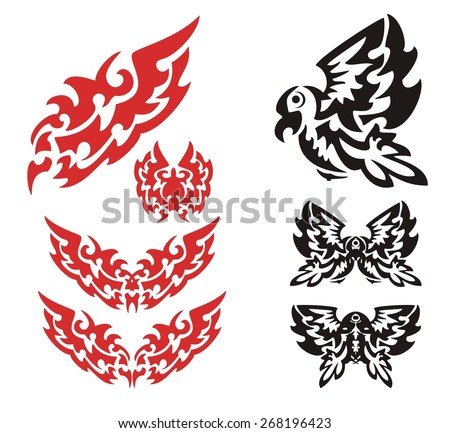Tribal flaming eagle set. The flying stylized flaming eagle and eagle symbols in tribal style. Red and black options on a white background - stock vector