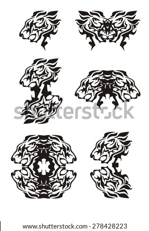 Tribal flaming lion head symbols. Tattoos of the growling lion's head. Black on the white - stock vector