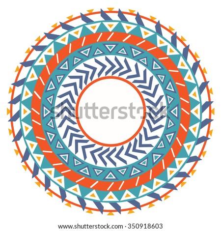 Tribal folk native round Aztec geometric pattern. Vector geometric ethnic border, frame, label and scribble design element. Aztec background. - stock vector