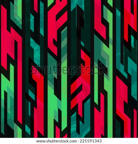 tribal geometric seamless pattern with grunge effect - stock vector