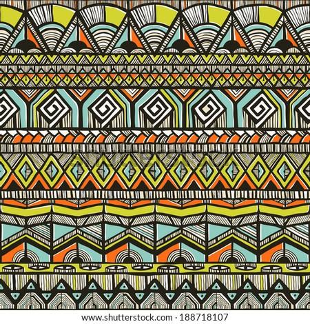 Tribal hand-drawn pattern. EPS 10 vector illustration. - stock vector