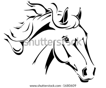 Tribal horse head design, perfect for logo or tattoo, vector in .eps format - stock vector