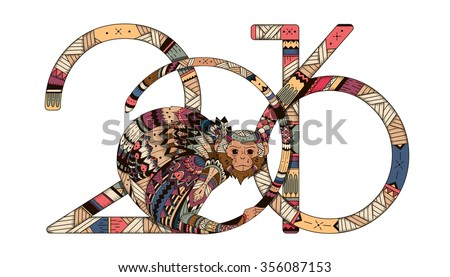 Tribal illustration of a monkey in the style zentangl for the new year 2016. illustration of Totem for the holidays. Printing  card, poster - stock vector