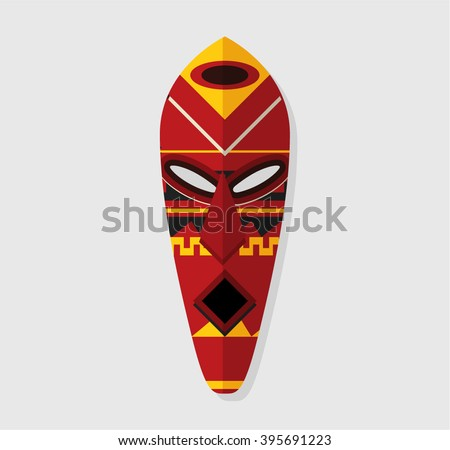 Tribal Mask Symbol Icon - stock vector