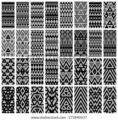 Tribal monochrome lace patterns. Vector illustration. - stock vector