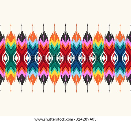 Tribal seamless colorful geometric border pattern. - stock vector