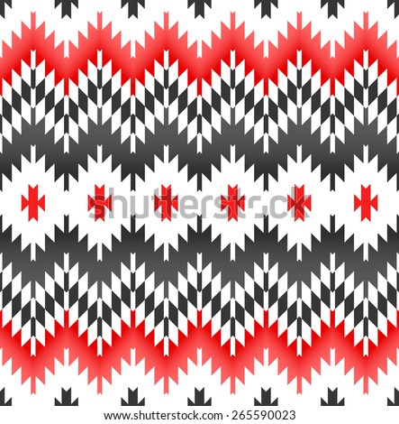 Tribal seamless grey black white red geometric pattern. - stock vector