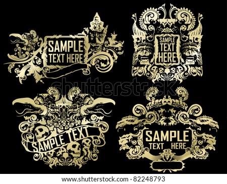 tribal vector golden set - stock vector