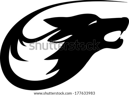 Tribal wild wolf. Tattoo style vector. - stock vector