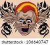 tribal wing skull - stock vector