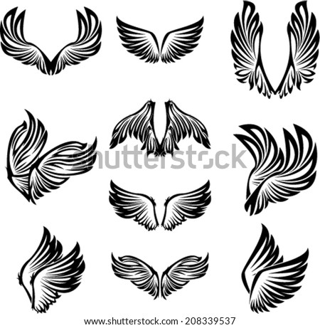 Tribal Wings Set - stock vector