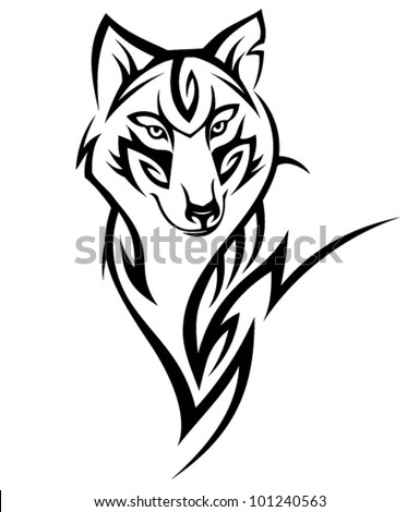 Tribal wolf tattoo Design - stock vector
