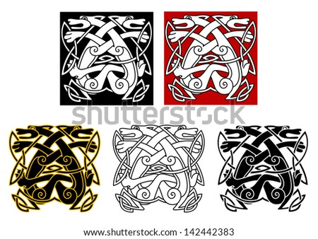 Tribal wolves in celtic style for tattoo or religious design. Jpeg version also available in gallery  - stock vector