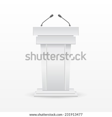 Tribune with microphones - stock vector
