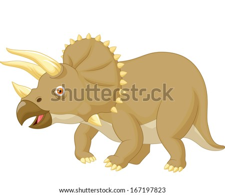 Triceratops cartoon - stock vector