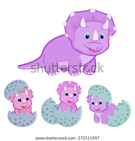Triceratops dinosaur family vector illustration Happy family Animal family Mother triceratops and baby hatching from egg Cute baby triceratops cartoon dinosaur vector EPS8 great for kids t shirt stamp - stock vector