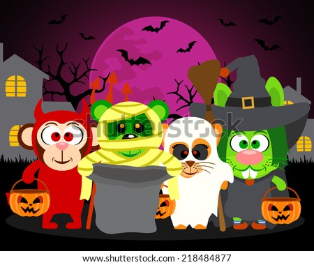 Trick or Treat animals in Halloween costume,vector Halloween background - stock vector