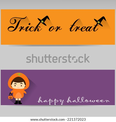 trick or treat child banner in pupmkin costume for happy halloween - stock vector