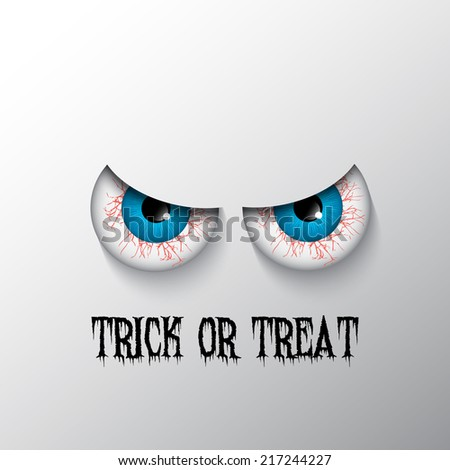 Trick or treat Halloween background with evil eyes - stock vector