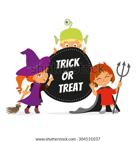 Trick or treat. Happy halloween banner with cute cartoon children in colorful costumes.Vector illustration - stock vector