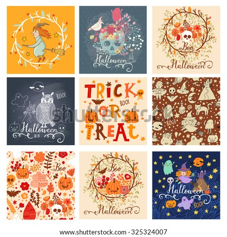 Trick or treat lovely holiday set in vector. 9 awesome halloween cards in bright colors. Stunning holiday collection  - stock vector