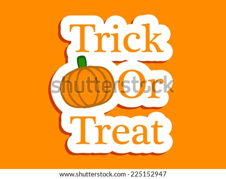 Trick or Treat text with effects with Illustration of Pumpkin for Halloween - stock vector