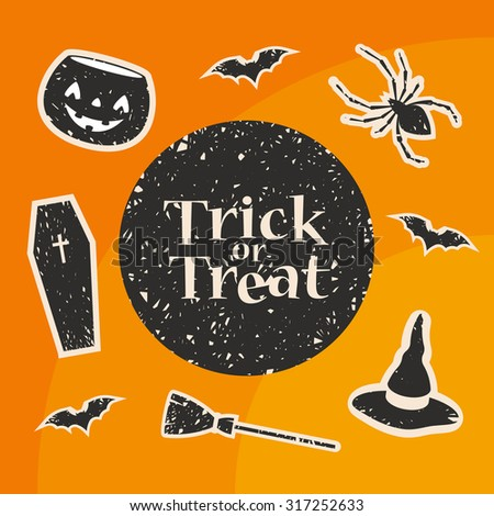 Trick or Treat Title. Stylized Decorations: Pumpkin, Bat, Spider, Witch Hat, Broom and Coffin. Vector Illustration - stock vector