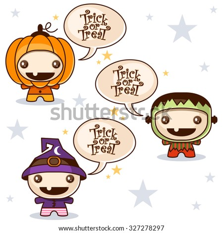 Trick or Treat with cute kids in Halloween costumes - stock vector