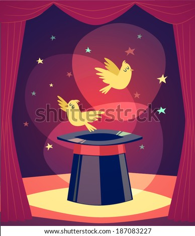 Trick with birds. Vector illustration. - stock vector