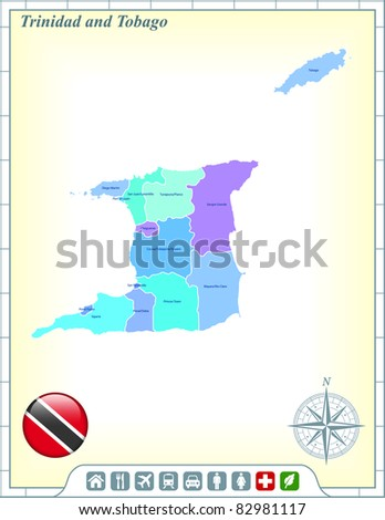 Trinidad and Tabago Map with Flag Buttons and Assistance & Activates Icons Original Illustration - stock vector
