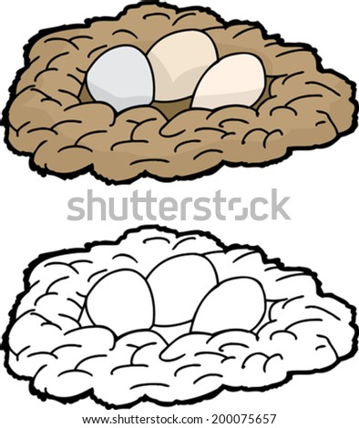 Trio of eggs in cartoon nest over isolated background - stock vector