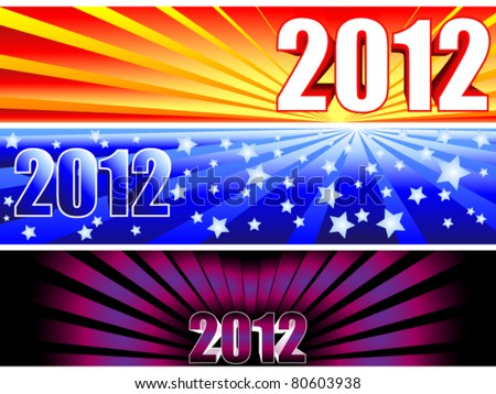 Trio of sunburst banners for the new year 2012 with fun colorful gradients giving completely different options. - stock vector