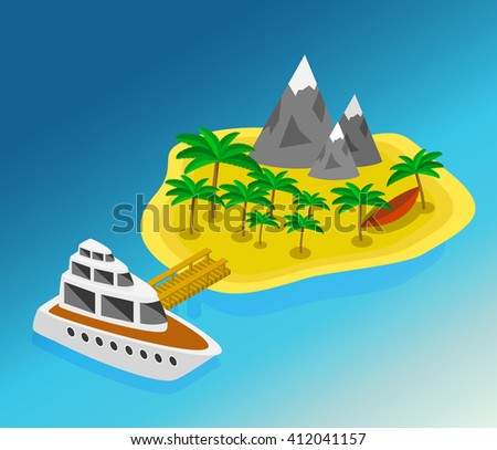 Trip to Summer holidays. Travelling 3d isometric illustration. Travel to the island by boat isometric style - stock vector