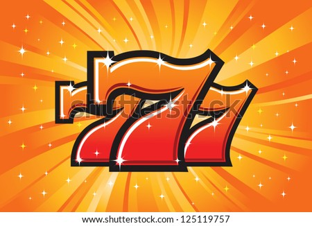 Triple Lucky Sevens burst vector illustration - stock vector