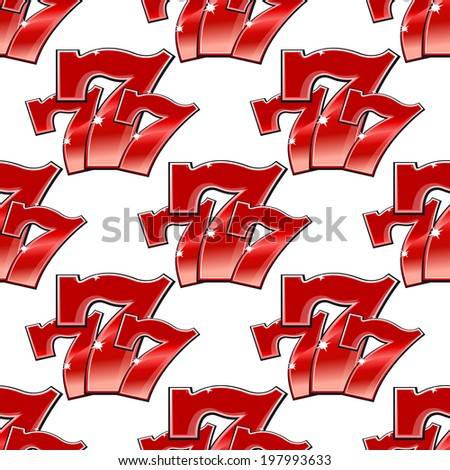 Triple seven 777 background seamless pattern with sparkling red numerals for gambling and casino design - stock vector