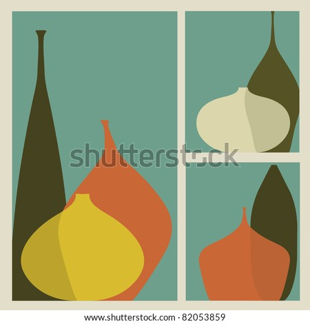 Triptych of vases - stock vector
