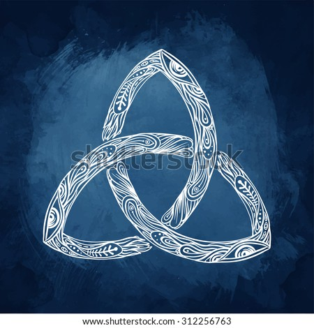 Triquetra: Celtic, body, mind and spirit symbol. Trinity, knot interlaced sign for your logo, design or project (vector illustration). Alchemy, religion, spirituality, occultism, tattoo art.  - stock vector