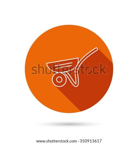 Trolley icon. Garden cart sign. Gardener equipment symbol. Round orange web button with shadow. - stock vector