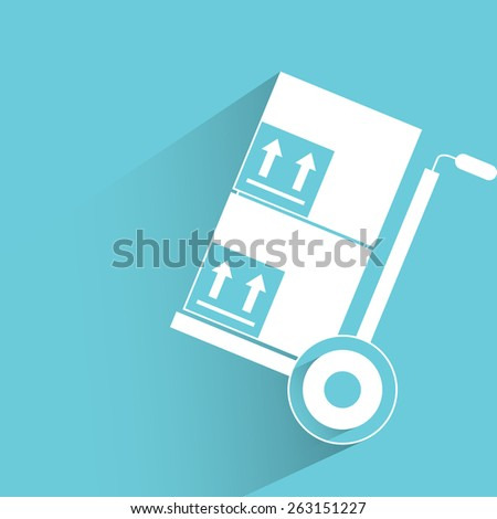 trolley with boxes - stock vector