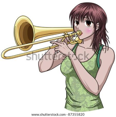 Trombone Player - stock vector