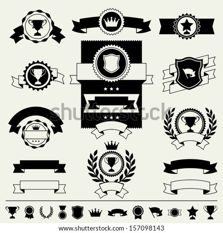 Trophies and awards banners, ribbons and labels. - stock vector