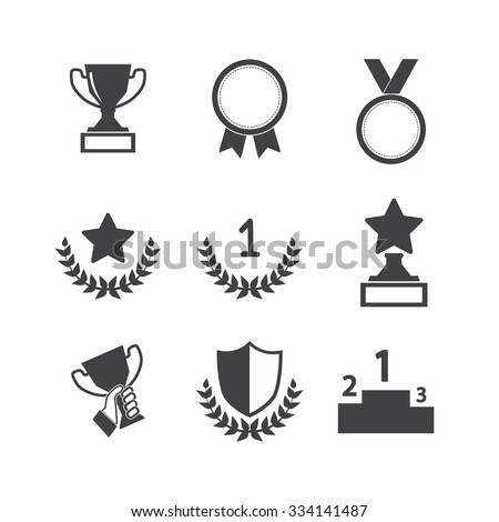 Trophy and awards icons set - stock vector