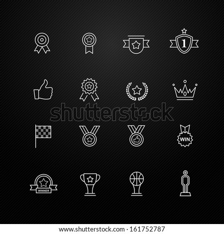 Trophy and prize vector thin line symbol icon on black background - stock vector