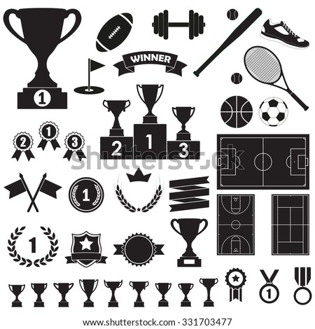 Trophy, awards and sports icon set: winning trophy cup, medals, pedestal, flags, ribbons, balls, sport fields. Vector illustration. - stock vector