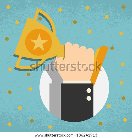 Trophy, Businessman showing success - stock vector