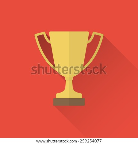 trophy cup flat icon - stock vector