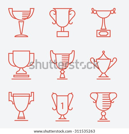 Trophy cup icons, thin line style, flat design - stock vector
