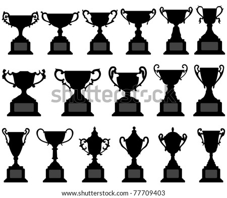 Trophy Cup Silhouette Black Set - stock vector