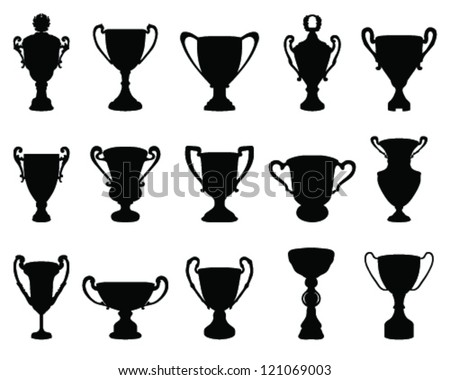 Trophy cup silhouette 1-vector - stock vector